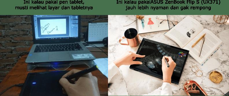 perbandingan pakai laptop standar dan ASUS ZenBook Flip S (UX371) dengan pen tablet
