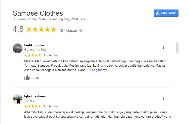 Review Google Map Produk SAMASE